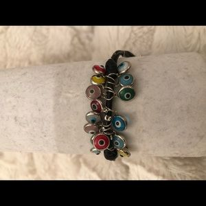 Jewelry - Sterling silver and leather evil eye bracelet